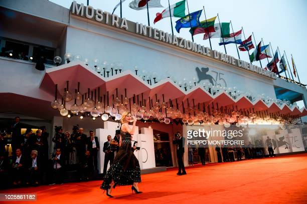 Member of the Venezia 75 competition jury English actress Naomi Watts arrive for the premiere of the film Suspiria presented in competition on...