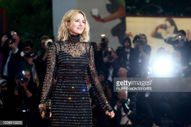TOPSHOT Member of the Venezia 75 competition jury English actress Naomi Watts arrives for the premiere of the film At Eternity's Gate presented in...