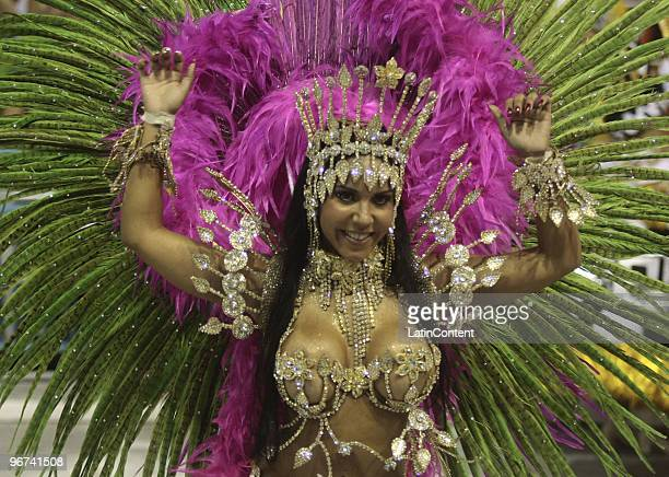 A member of the Vila Isabel samba school dances along on their parade as part of the 2010 Carnival on February 16 2010 in Rio de Janeiro Brazil