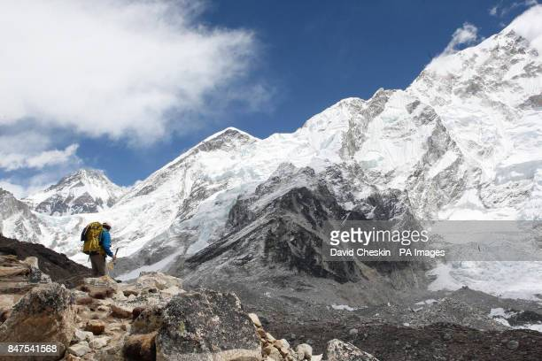 A member of the Walking with the Wounded team makes their way to Mount Everest Base Camp after a 10day hike through the Himalayas