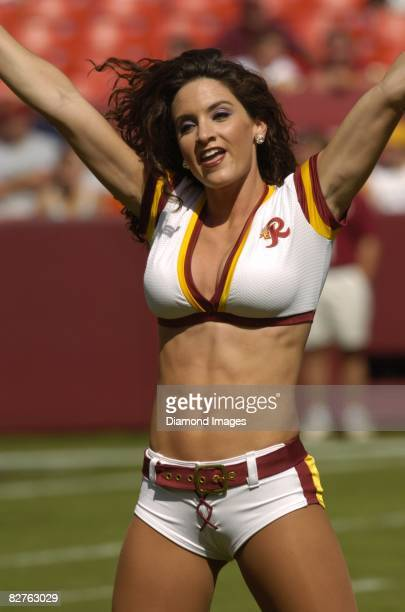 A member of the Washington Redskins' Redskinettes cheerleading squad performs a routine prior to a game on October 2 2005 against the Seattle...