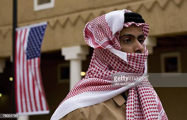 A member of the welcoming staff awaits US President George W Bush's arrival at Murabba Palace and National History History Museum in the Saudi...