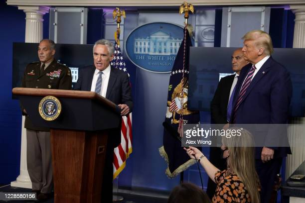 Member of the White House's coronavirus task force Dr. Scott Atlas speaks during a news conference in the James Brady Press Briefing Room of the...