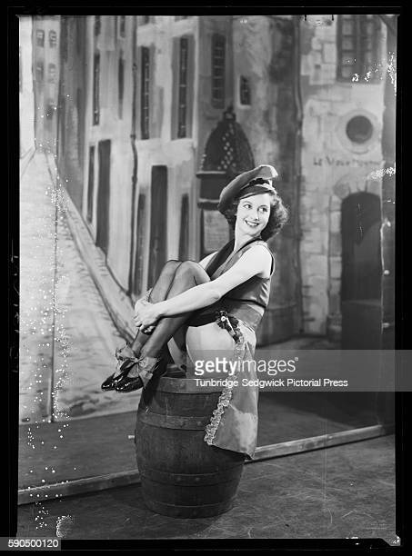 A member of the Windmill Girls dance troupe performing in the show 'Paris by Night Before 1940' on stage at the Windmill Theatre London 1940