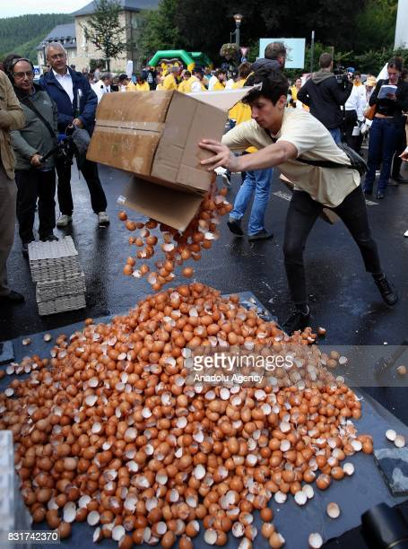 A member of the World Brotherhood of the Huge Omelet dumps egg shells as giant omlette within a 4 metre diameter frying pan is cooked in Malmedy...