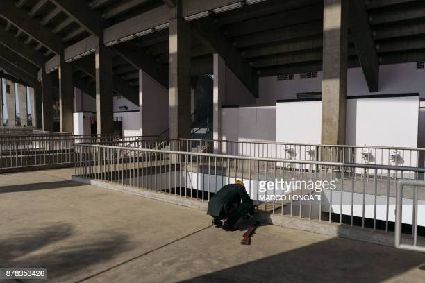 A member of the Zimbabwean military honour guard is seen at the National Sport Stadium in Harare on November 24 2017 ahead of the inauguration...