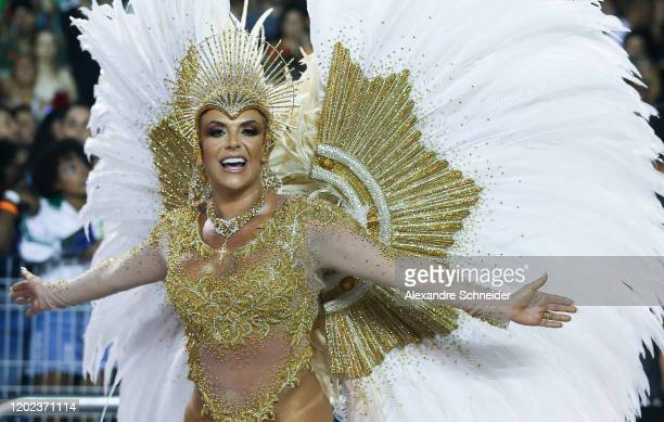 A member of Tom Maior performs during the parade at Anhembi Sambadrome of Sao Paulo on February 21 2020 in Sao Paulo Brazil Sao Paulo's two nights of...