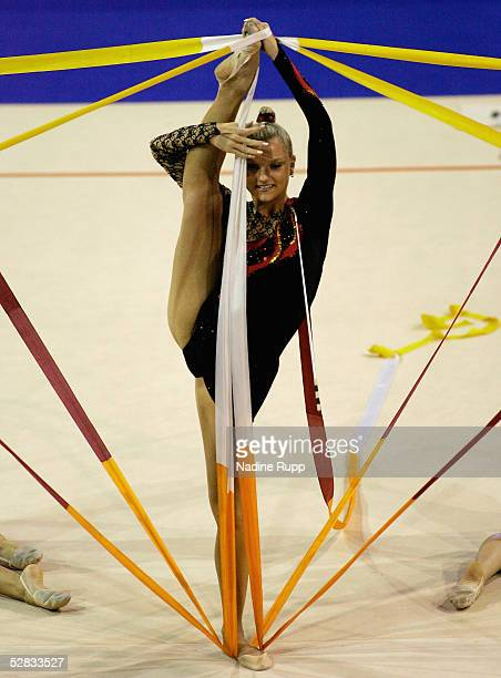 A member of Tus Friedrichsort team performs during the International German Gymnastics Festival on May 16 2005 in Berlin Germany
