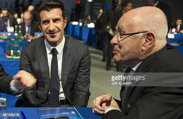 Member of UEFA Committee Holland's Michael van Praag and Portugal's former football player Luis Figo attend the Ordinary UEFA Congress in Vienna,...