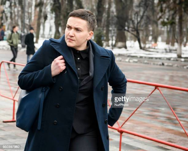 Member of Ukrainian parliament Nadiya Savchenko near Ukrainian Parliament after questioning in the SBU in Kyiv Ukraine