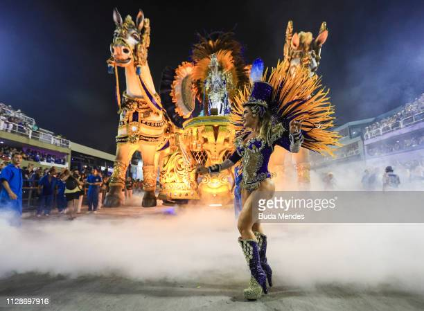 Member of Unidos de Vila Isabel Samba School performs during the parade at 2019 Brazilian Carnival at Sapucai Sambadrome on March 04, 2019 in Rio de...