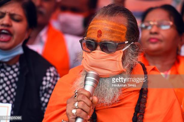 A member of United Hindu Front addressing the gathering during a protest demanding a population control law to be implemented in India owing to the...