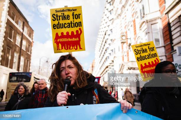 Member of University and College Union speaks during the demonstration. The UCU launched a 14-day strike on February 20 in defence of staff pensions,...