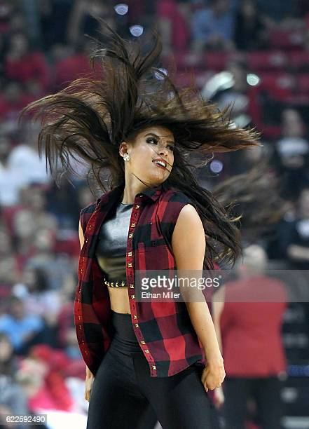 A member of UNLV Rebels dance team performs during UNLV's game against the South Alabama Jaguars at the Thomas Mack Center on November 11 2016 in Las...