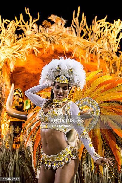 A member of Vila Isabel samba school performs during its parade at 2014 Brazilian Carnival at Sapucai Sambadrome on March 03 2014 in Rio de Janeiro...