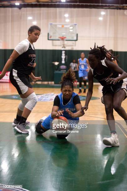 A member of Washington Evolution dives for a loose ball during the game against Tree of Hope Pacific Red during the Jr NBA World Championship...