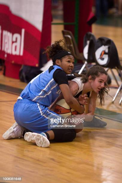 A member of Washington Evolution grabs a loose ball during the game against Tree of Hope Pacific Red during the Jr NBA World Championship Northwest...