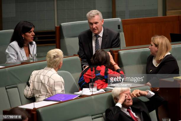 Member of Watson Tony Burke speaks to The Member for Mayo Rebekha Sharkie Member for Chisholm Julia Banks Member for Indi Cathy McGowan and the...