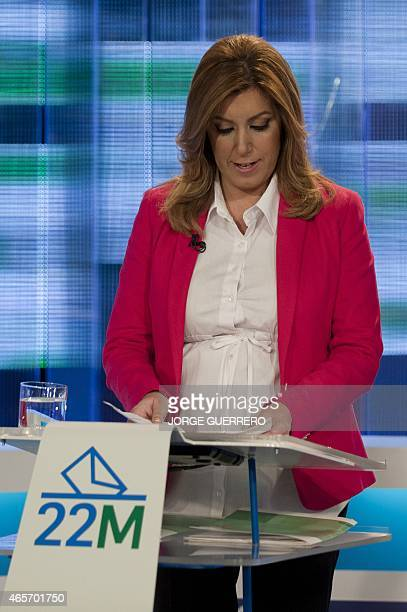 member president of the regional government of Andalusia and candidate for the regional government election Susana Diaz reads a document prior to a...