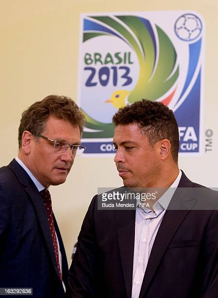 Member Ronaldo Lazario and FIFA Secretary General Jerome Valcke attends a press conference during FIFA World Cup LOC Board Meeting on March 7 2013 in...