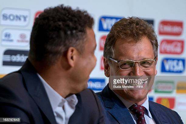 LOC Member Ronaldo Lazario and FIFA Secretary General Jerome Valcke attend a press conference during FIFA World Cup LOC Board Meeting on March 7 2013...