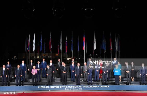 Member states and Western Balkans partners' representants pose at the EU-Western Balkans summit at Brdo Castle in Kranj on October 5, 2021. - EU...