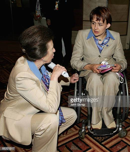 IOC member The Princess Royal talks to paralympian Dame Tanni GreyThompson after the London 2012 bid presentation at the Raffle City Convention...