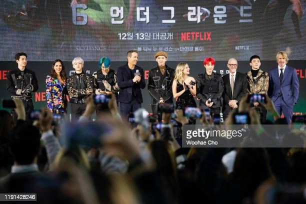 EXO members and 6 Underground cast attend the world premiere of Netflix's '6 Underground' at Dongdaemun Design Plaza on December 02 2019 in Seoul...