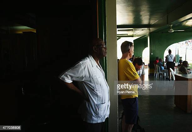 Members and guests watch the Test Match from the Kingston Cricket Club during day three of the Second Test match between Australia and the West...