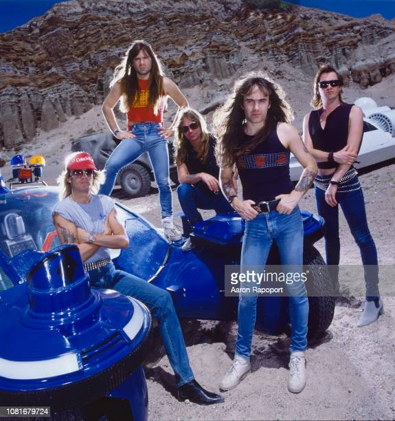 Members and hard rock legends Iron Maiden pose for a portrait circa 1986 in Los Angeles California