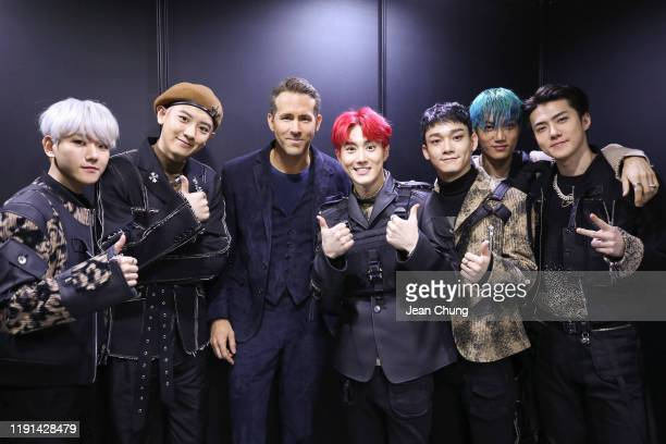 Members and Ryan Reynolds attends the world premiere of Netflix's '6 Underground' at Dongdaemun Design Plaza on December 02 2019 in Seoul South Korea