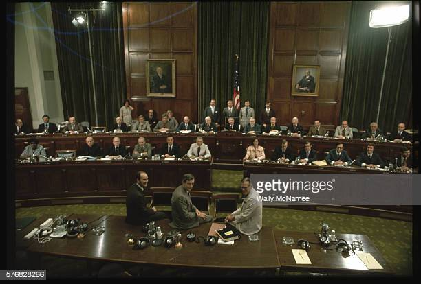 Members and staff of the House Judiciary Committee pose for a portrait in their hearing room in the Rayburn House Office Building At the table in the...