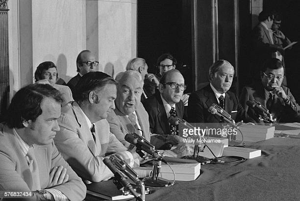 Members and staff of the Senate Watergate Committee gather in the caucus room to deliver their final report on their hearings L to R Counsel Fred...
