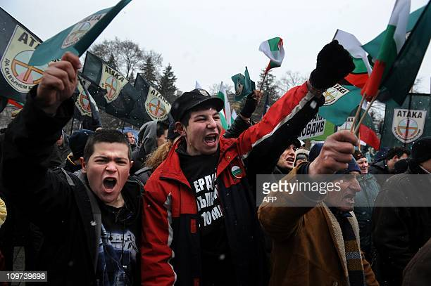 Members and supporters of Bulgaria's farright nationalist Ataka party shout slogans during a rally in front of Alexander Nevski cathedral in Sofia on...
