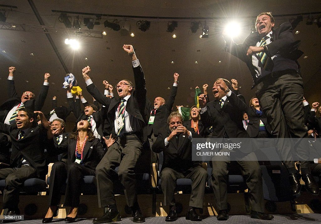 Members and supporters of the Rio Olympic bid rejoice on October 2, 2009 in Copenhagen. The International Olympic Committee (IOC) voted in Rio as the 2016 Summer Olympic city today after a final round battle in Copenhagen.