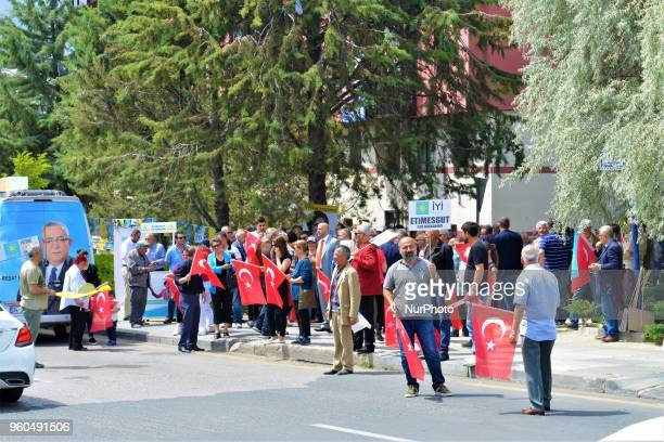 Members and supporters take part in a rally in support of Meral Aksener presidential candidate and the leader of the opposition IYI Party in Ankara...