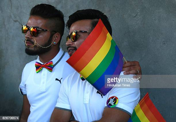 LGBT members and their supporters take part during a 9th edition of the Delhi Queer Pride Parade at Tolstoy Marg in Connaught Place on November 27...