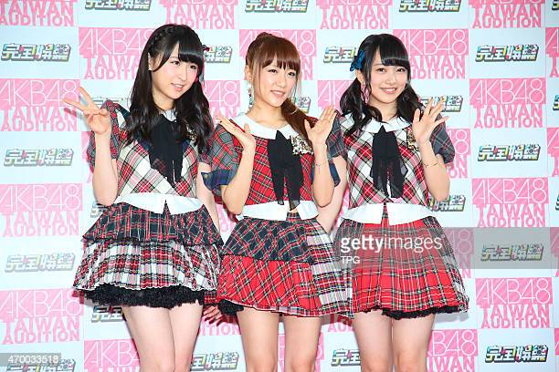 AKB48 members attends the press conference on 16th April 2015 in Taipei Taiwan China