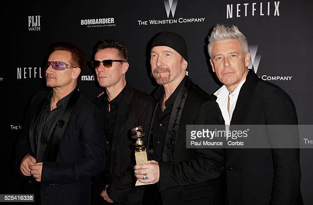 U2 members Bono Larry Mullen Jr The Edge and Adam Clayton arrive at the Weinstein Company Golden Globes AfterParty