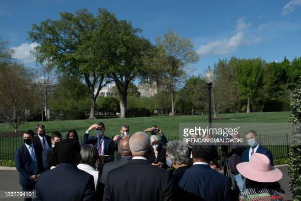Members Congressional Black Caucus speak to the press outside the White House after a meeting with US President Joe Biden on April 13 in Washington,...