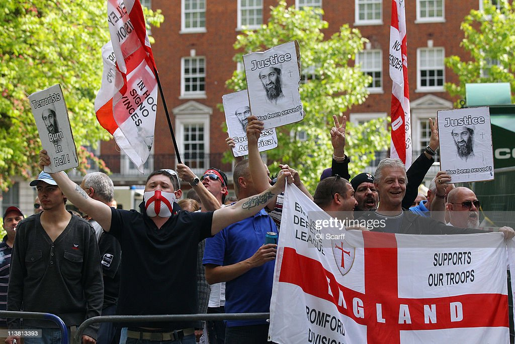 members demonstrate outside the US embassy in Mayfair against a rival Muslim protest condemning the killing of Osama bin Laden on May 6, 2011 in London, England. The Muslim demonstration, which was called by radical Muslim cleric Anjem Choudary, was in close proximity to a rival protest by the English Defense League who were celebrating the death of the al-Queda leader.