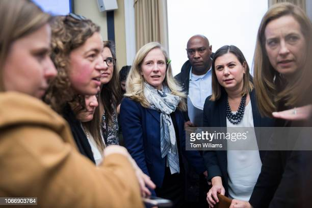Members elect Abigail Spanberger DVa center Elissa Slotkin DMich second from right and Mikie Sherrill DNJ right attend the new member room lottery...