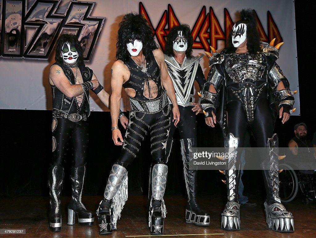 KISS members Eric Singer, Paul Stanley, Tommy Thayer and Gene Simmons attend the KISS and Def Leppard press announcement at House of Blues on March 17, 2014 in Los Angeles, California.