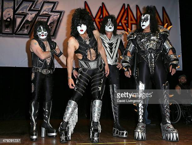 KISS members Eric Singer Paul Stanley Tommy Thayer and Gene Simmons attend the KISS and Def Leppard press announcement at House of Blues on March 17...