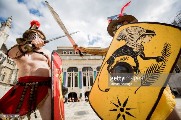 Members from Britannia dressed as Roman Gladiators visit London landmarks ahead of the Museum of London Gladiator Games on August 15 2017 in London...