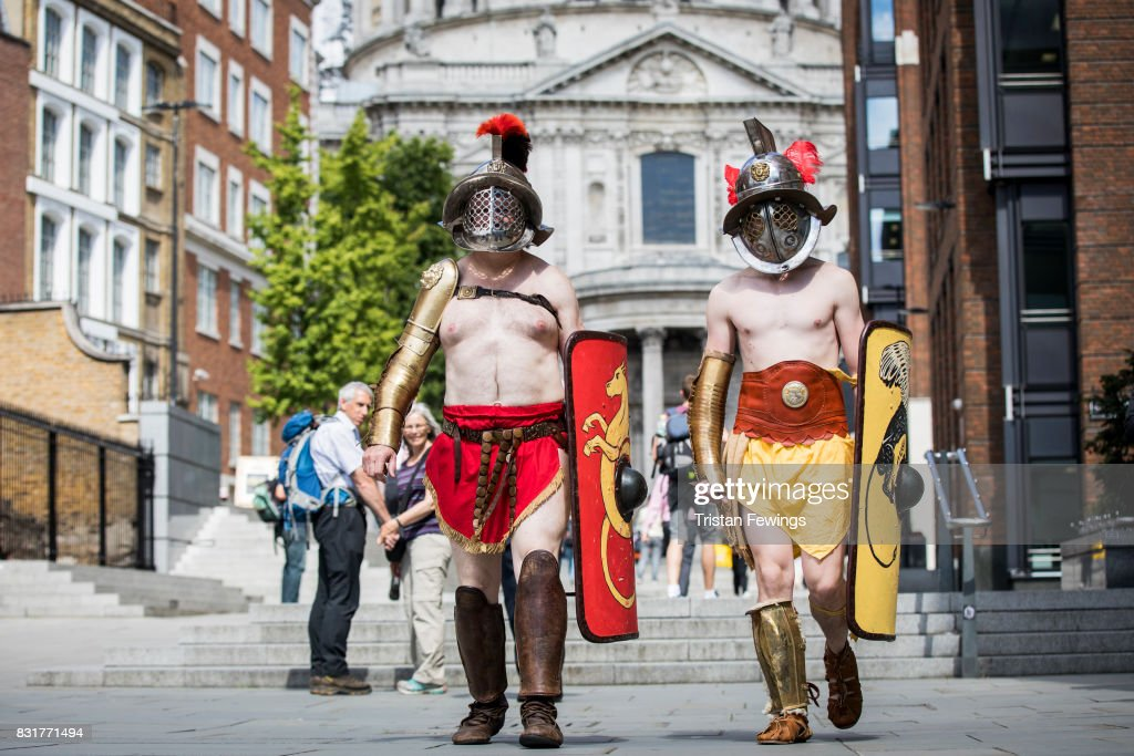 Members from Britannia dressed as Roman Gladiators visit London landmarks ahead of the Museum of London: Gladiator Games on August 15, 2017 in London, England. The Museum of London: Gladiator Games takes place at the site of London's only Roman amphitheatre which was discovered by archaeologists under the courtyard of the the Guildhall. The event runs from August 25 - 28 and is part of the City of London Corporation's Londinium season of events.