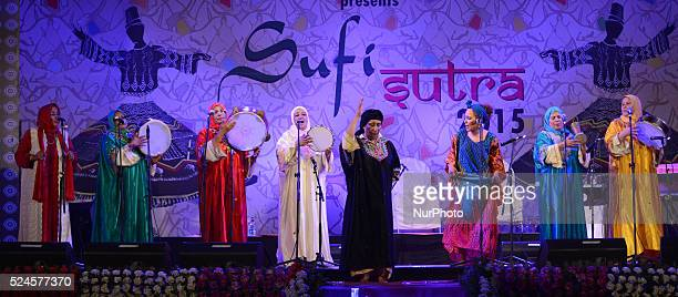 Members from Moroccan Hadarrattes Souiriattes group perform at the Sufi festival an International festival of Sufi and traditional music in Kolkata...