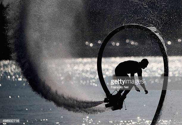 Members from the Abu Dhabi Marine Club participate in a water show at the Abu Dhabi Grand Prix on day three during the sixth and final round of the...