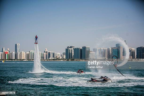Members from the Abu Dhabi Marine Club participate in a water show during day two of the Abu Dhabi Grand Prix The sixth and final round of the UIM...
