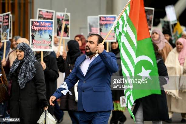 Members from the Scottish Kashmir community demonstrate against human rights violations ahead of Kashmir Black Day on October 26 2017 in Edinburgh...